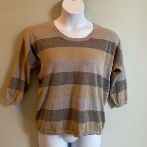 Spense Knit Top with Sparkle and Button Up…